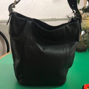 St. John's Bay Black Leather Bucket Handbag